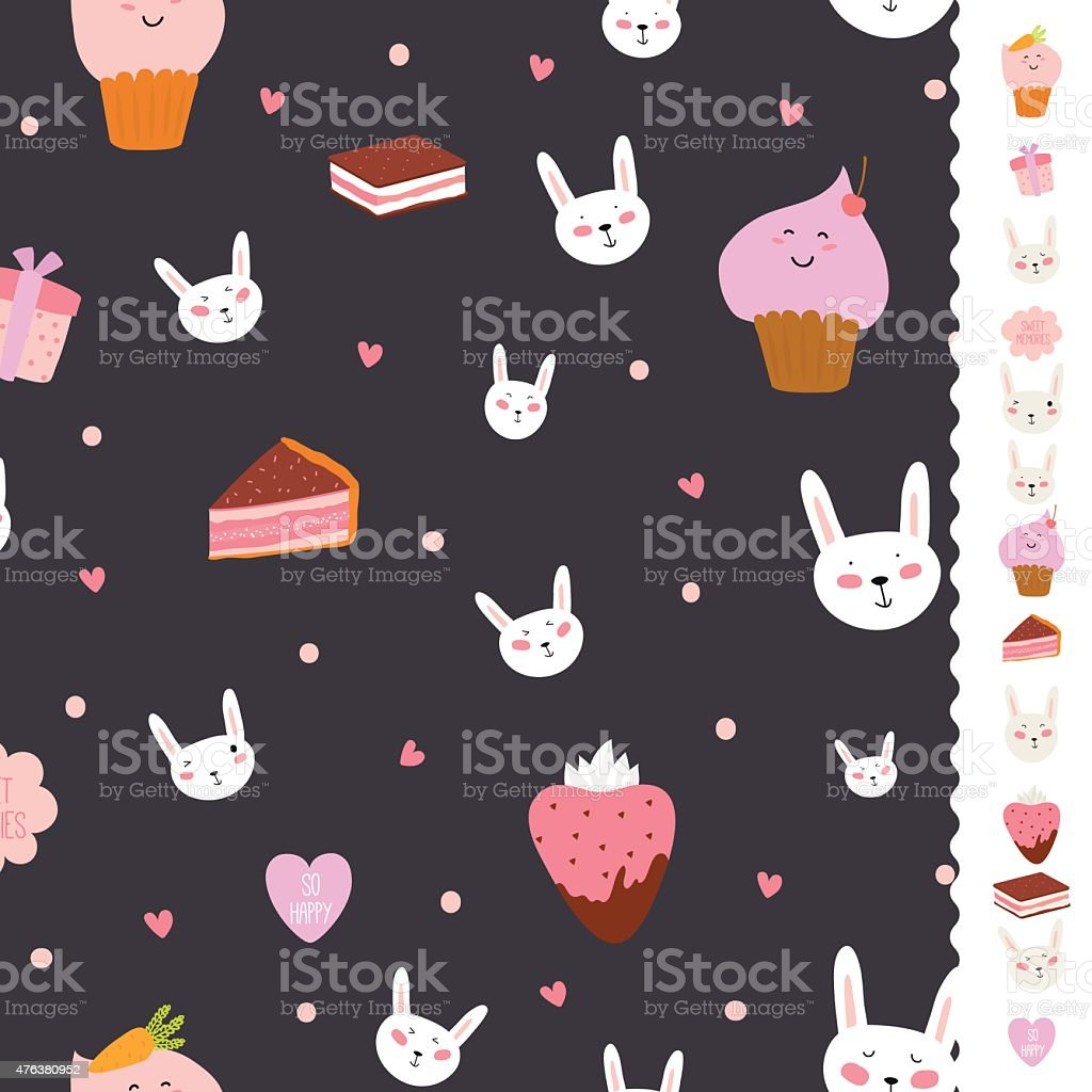 Cute pattern with sweets, cupcakes, bunnys, hearts, lollipops vector art illustration