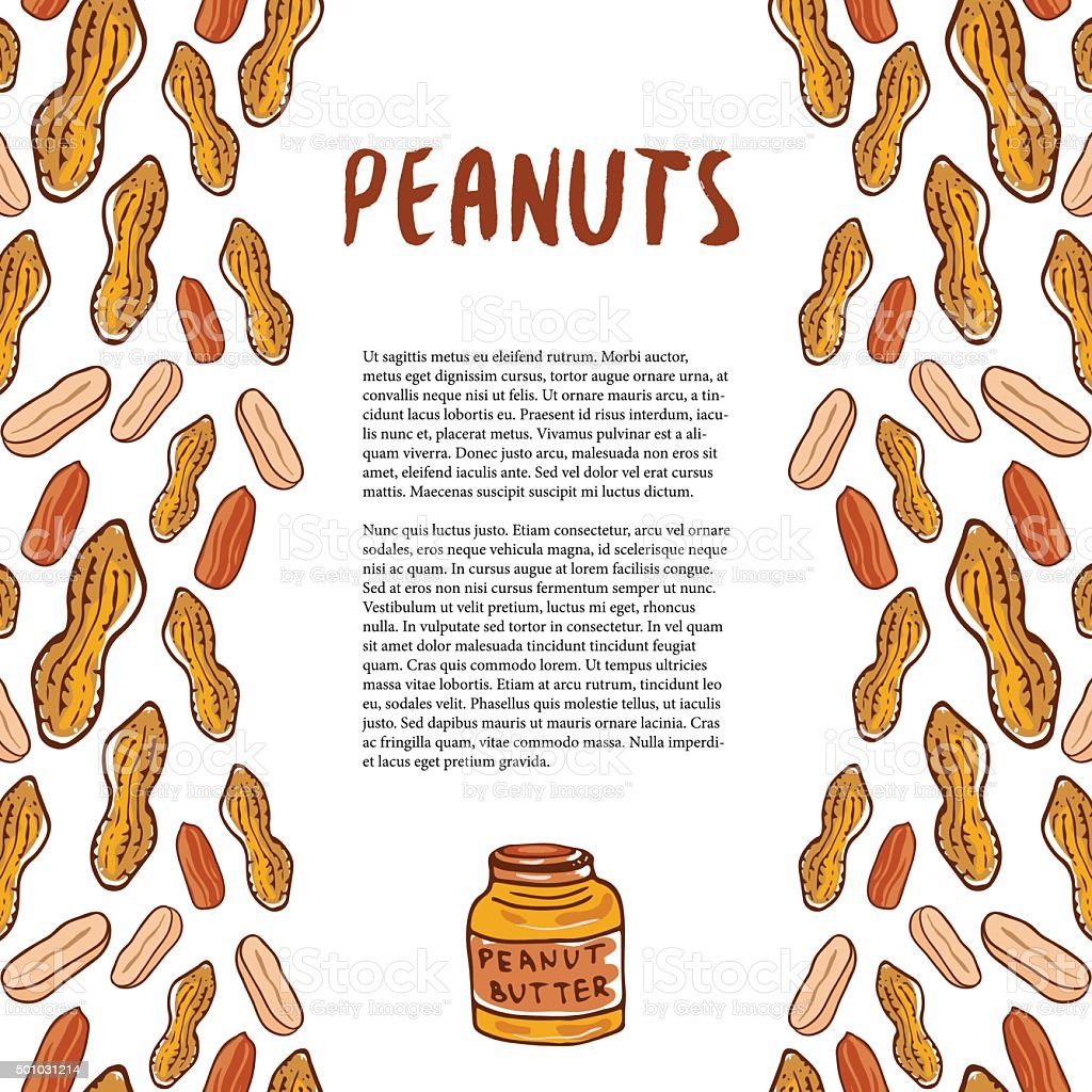 Cute peanuts template. Sketched nuts hand drawn vector background vector art illustration