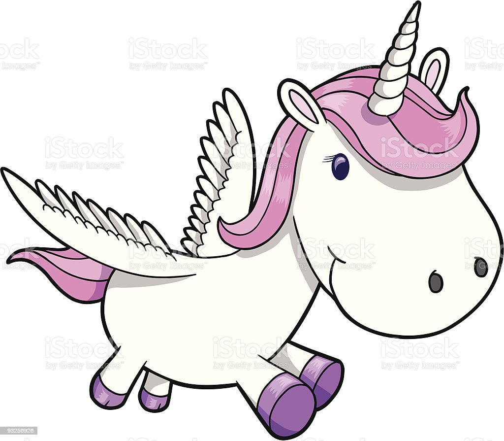 Cute Pegasus Unicorn royalty-free stock vector art