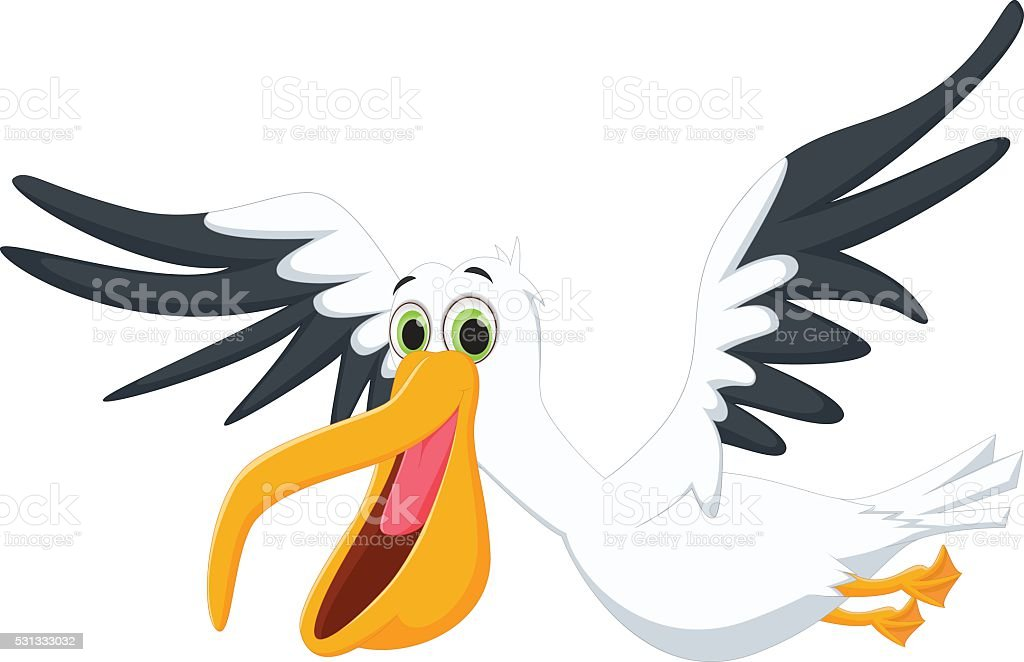 Cute pelican cartoon flying vector art illustration