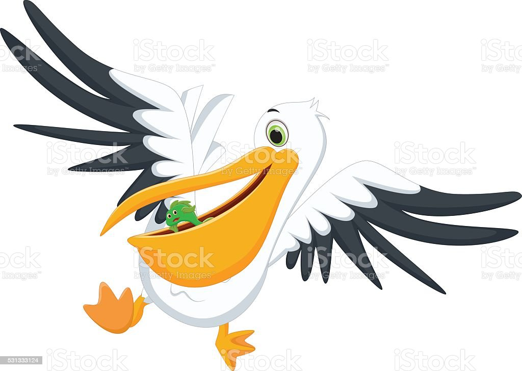 cute Pelican eating fish vector art illustration