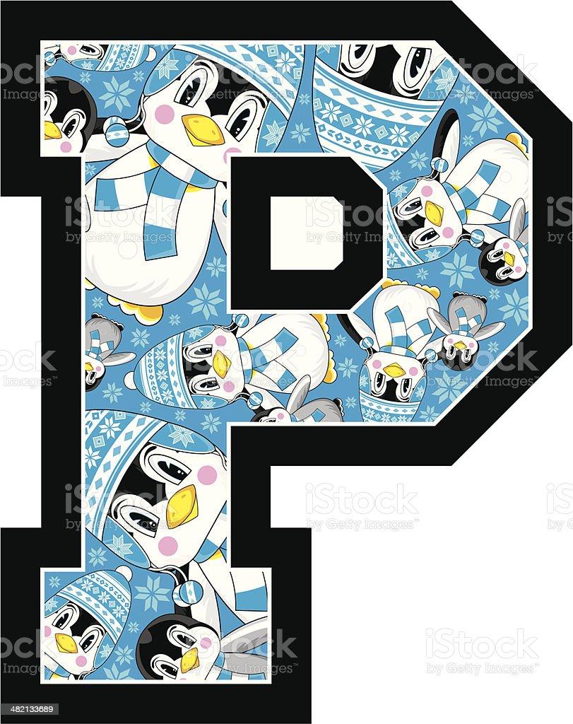 Cute Penguin Learning Letter P royalty-free stock vector art
