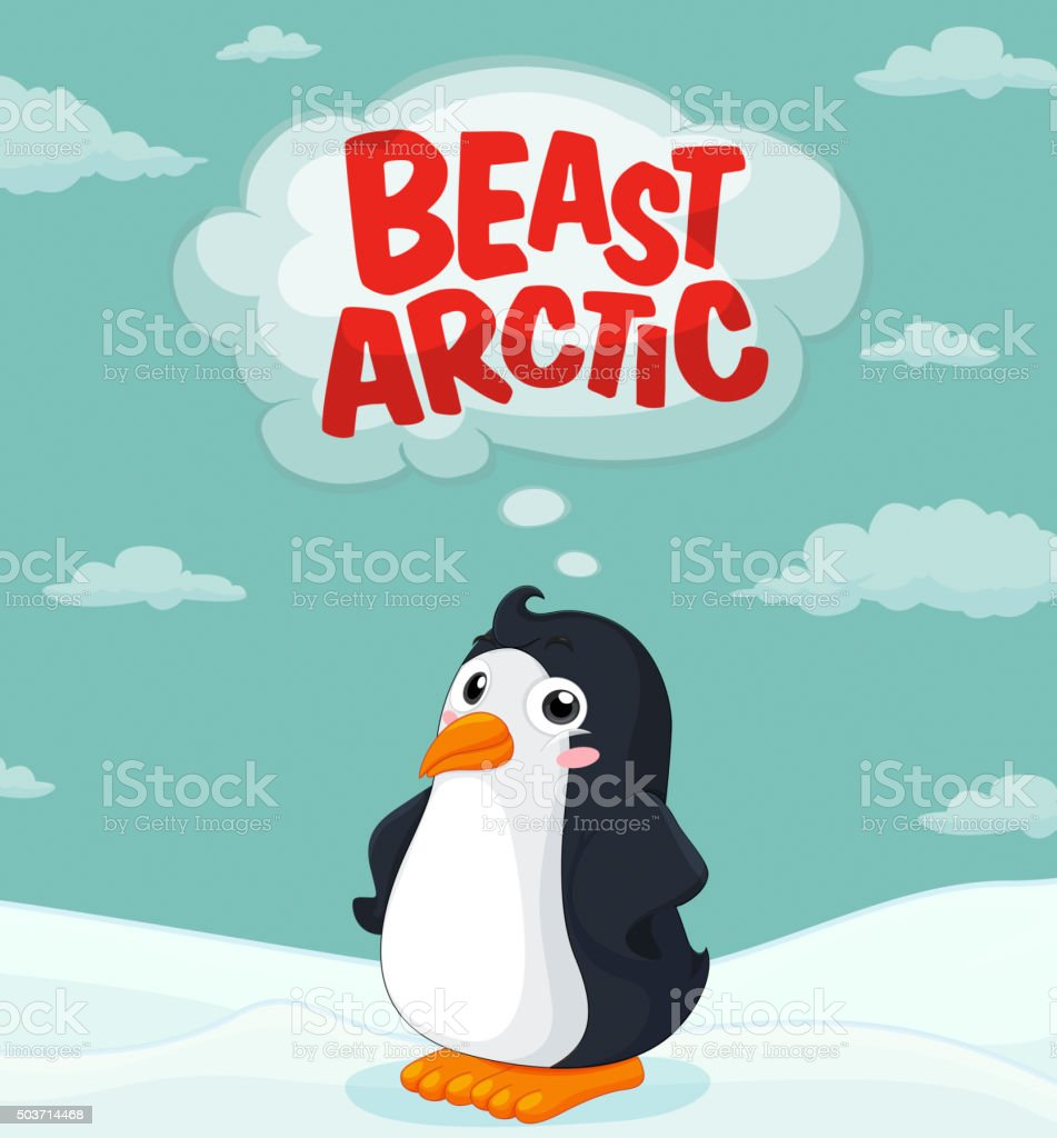 Cute penguin standing on ice vector art illustration
