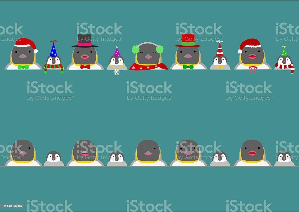 Cute penguins border vector art illustration