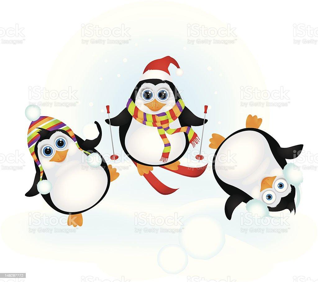 Cute penguins celebrating Christmas royalty-free stock vector art