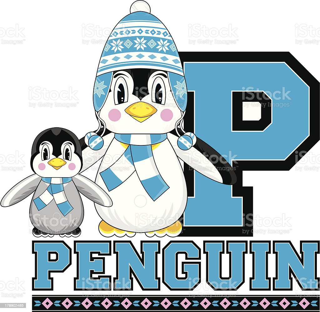 Cute Penguins Learning Letter P royalty-free stock vector art