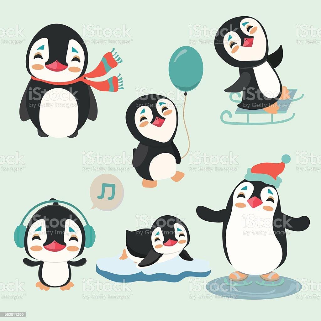 Cute  penguins. vector art illustration
