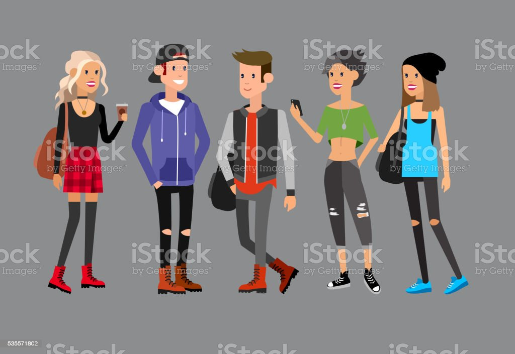 cute people at the simple style with gadgets, reading books vector art illustration