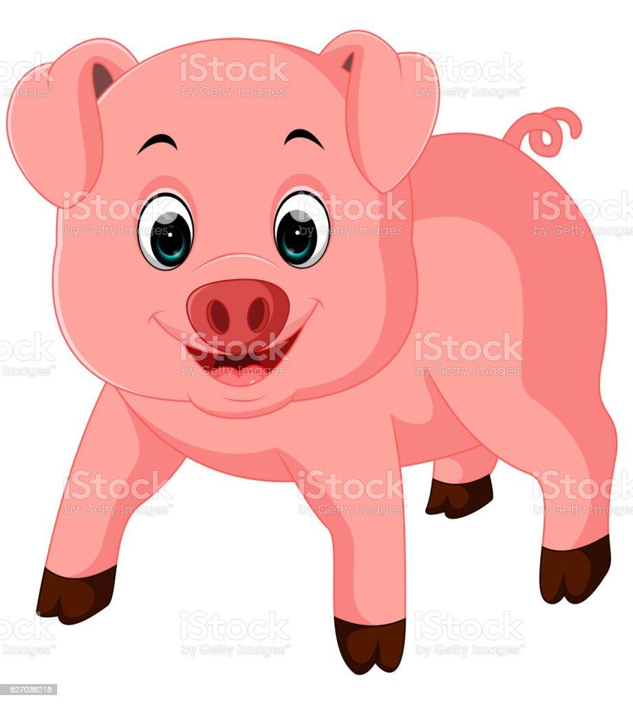 Cute pig cartoon vector art illustration