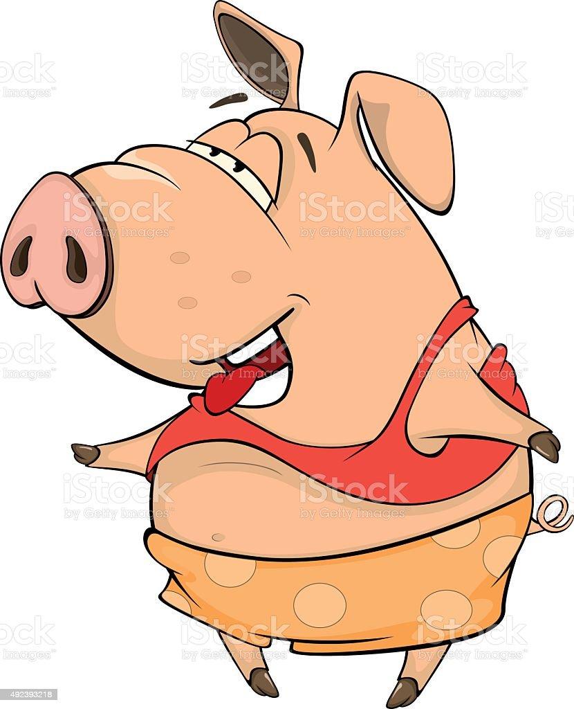 cute pig farm animal cartoon vector art illustration