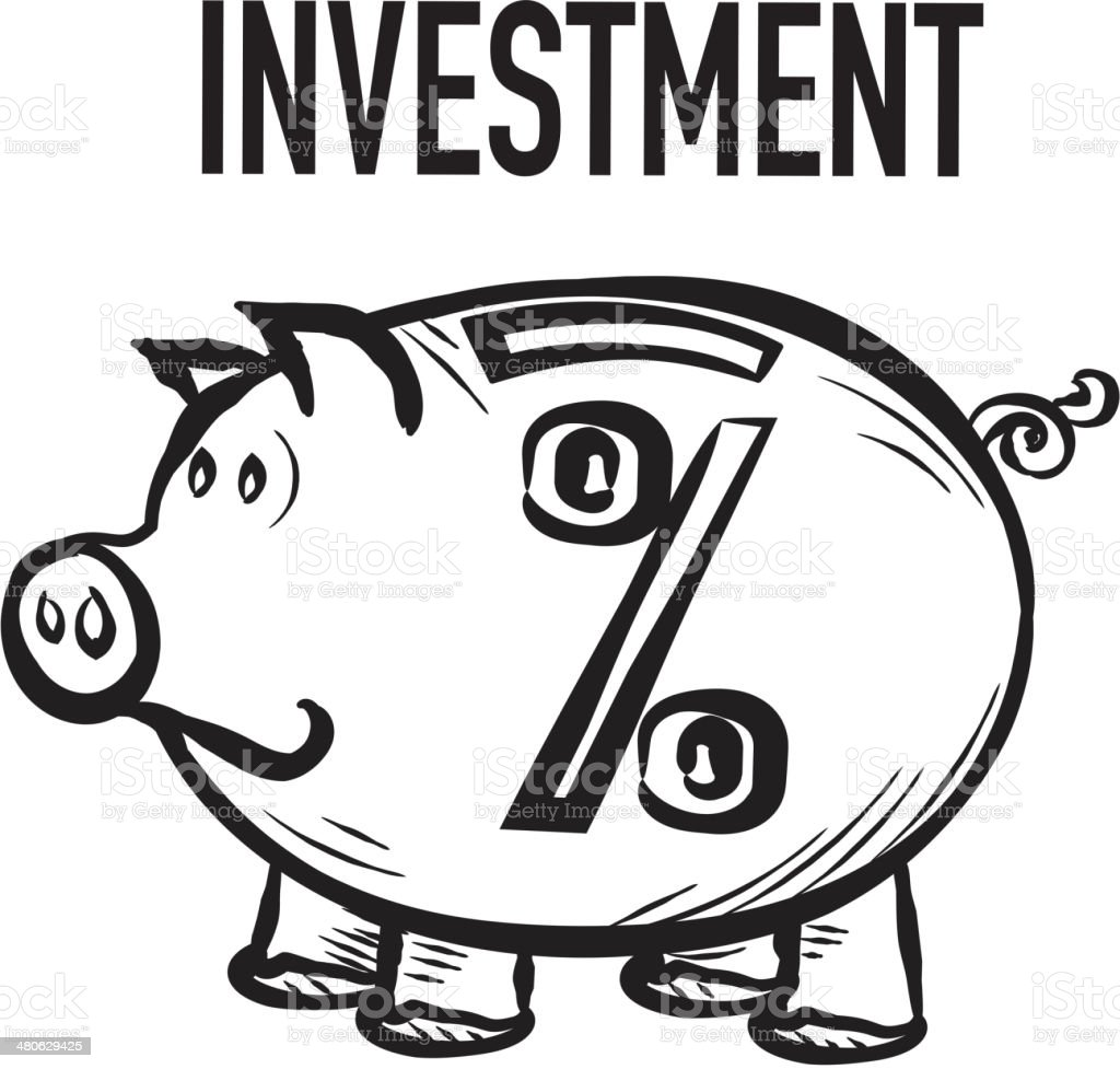cute piggy bank investment percentage concept stock vector art
