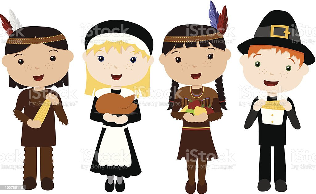 Cute Pilgrims and Indians vector art illustration