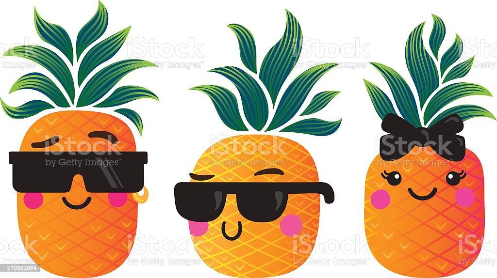 Cute pineapple characters vector art illustration