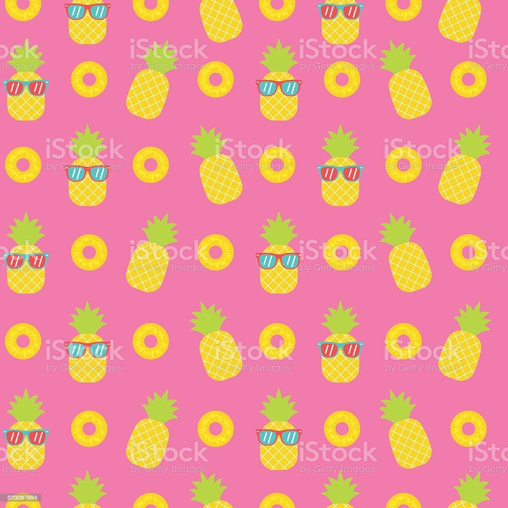 cute pineapple seamless pattern background vector art illustration
