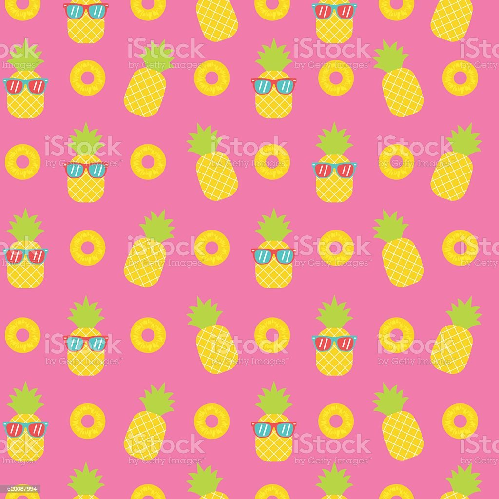 cute pineapple seamless pattern background vector art illustration