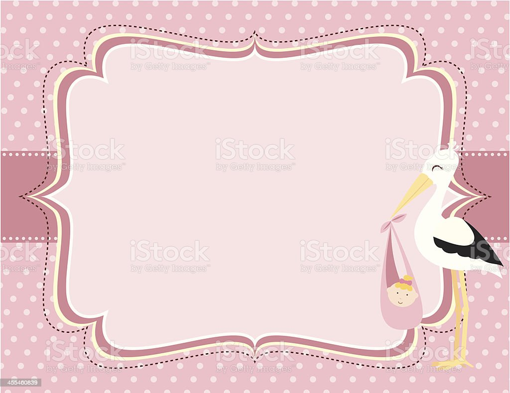 Cute Pink Baby Girl Stork Card vector art illustration