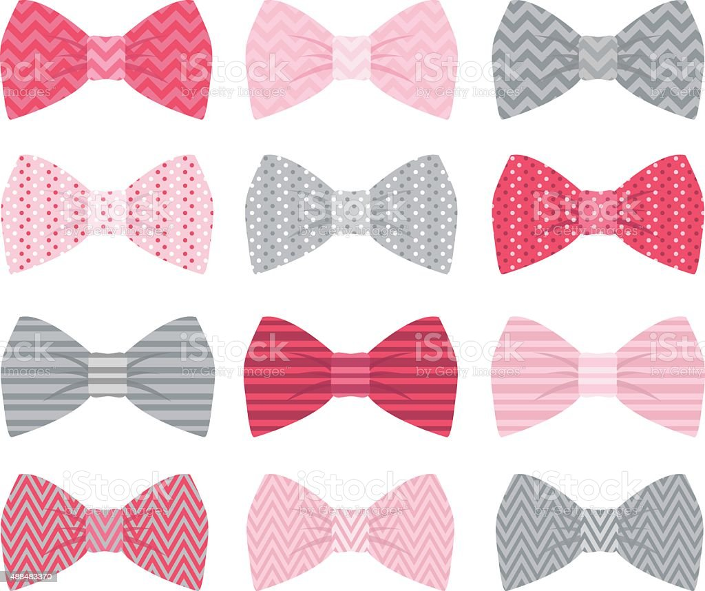 Cute Pink Bow Tie Collection vector art illustration