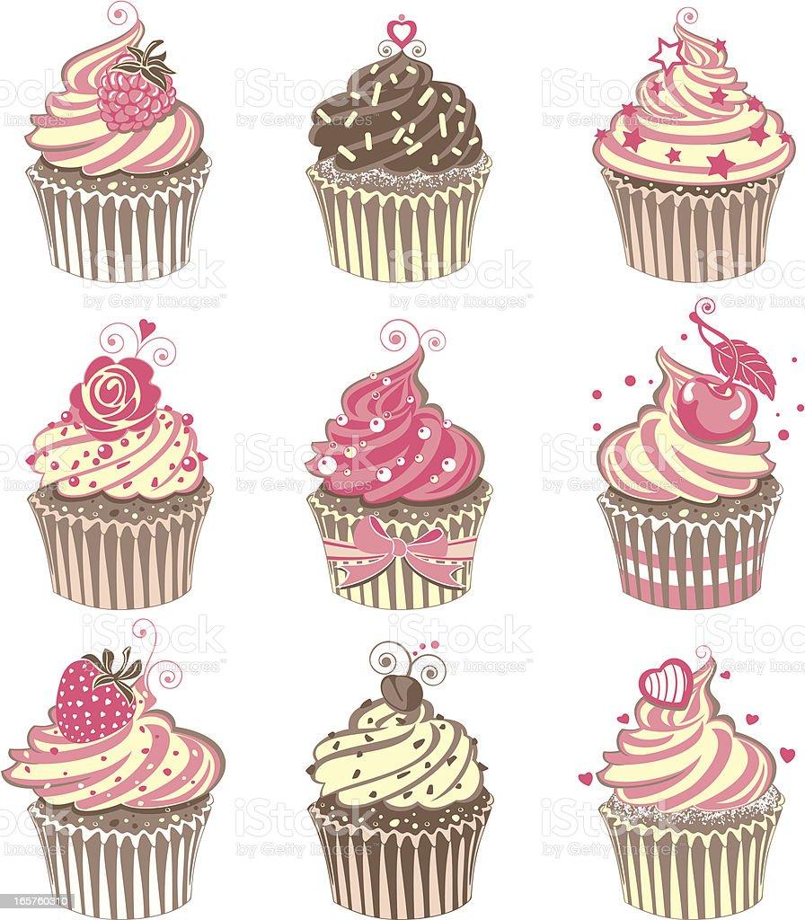 Cute Pink Cupcakes royalty-free stock vector art