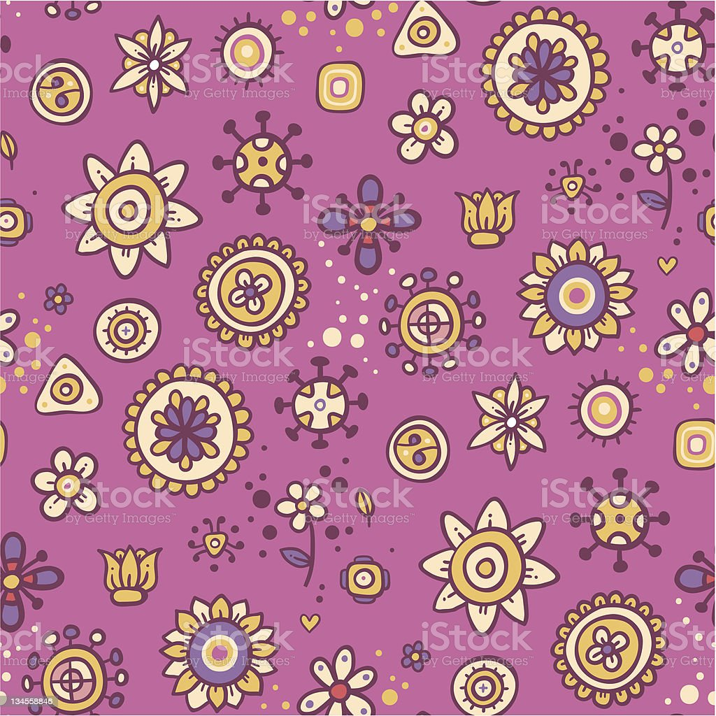 Cute pink floral pattern royalty-free stock vector art