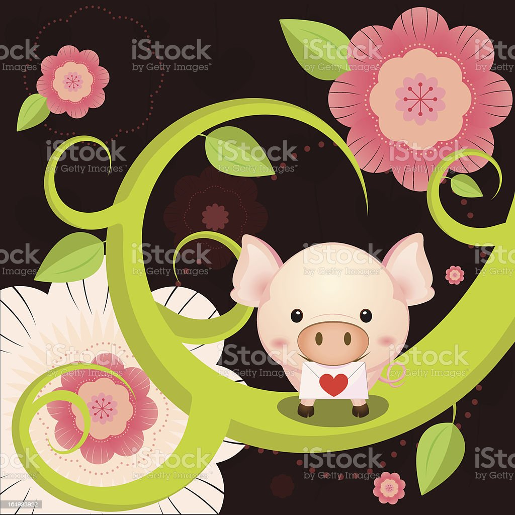 Cute pink pig sending a love letter from forest vector art illustration