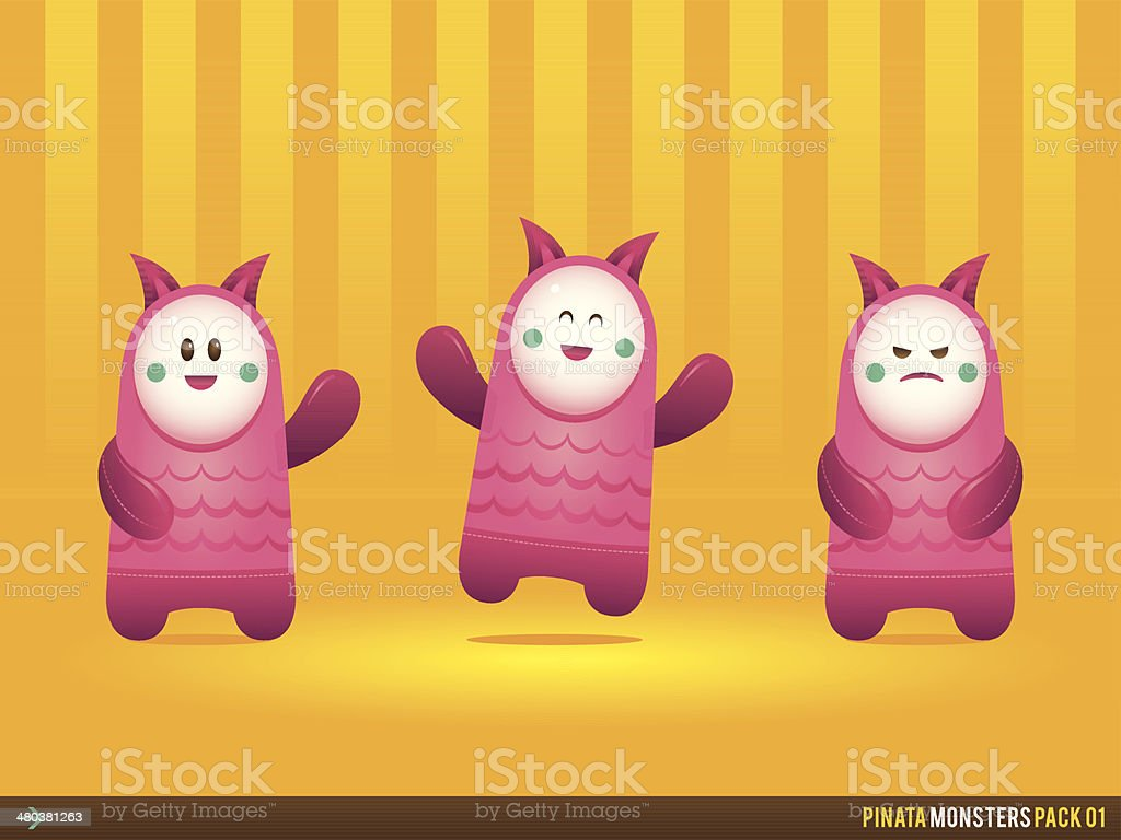 Cute Pink Pinata Monsters royalty-free stock vector art