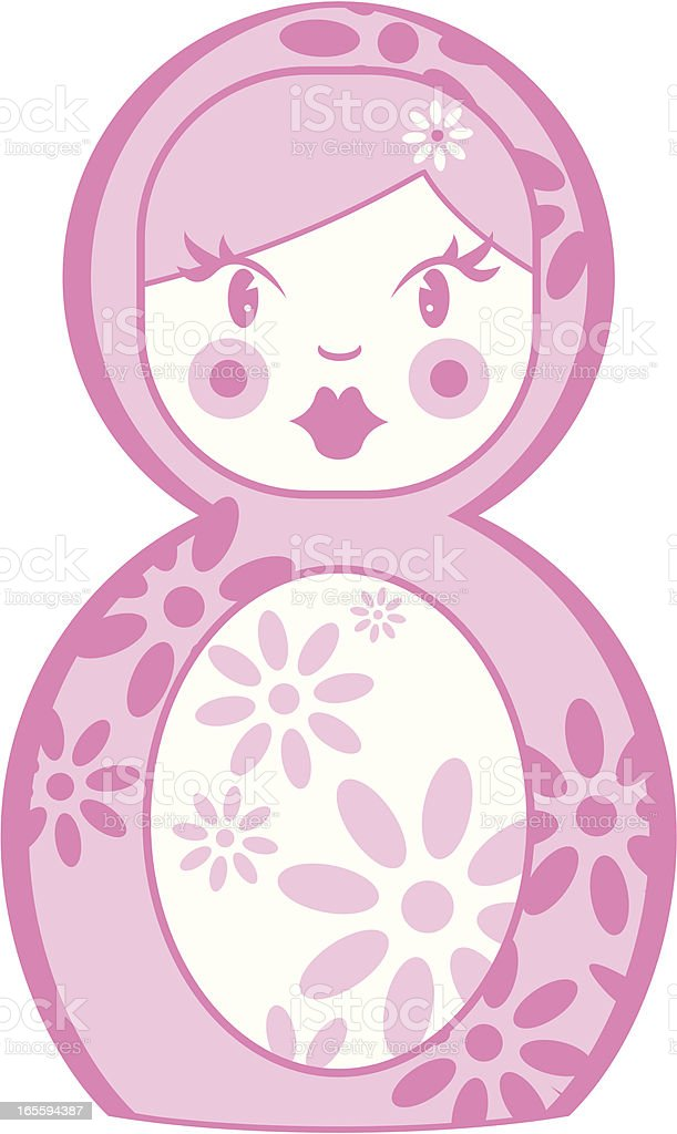 Cute Pink Russian Doll royalty-free stock vector art