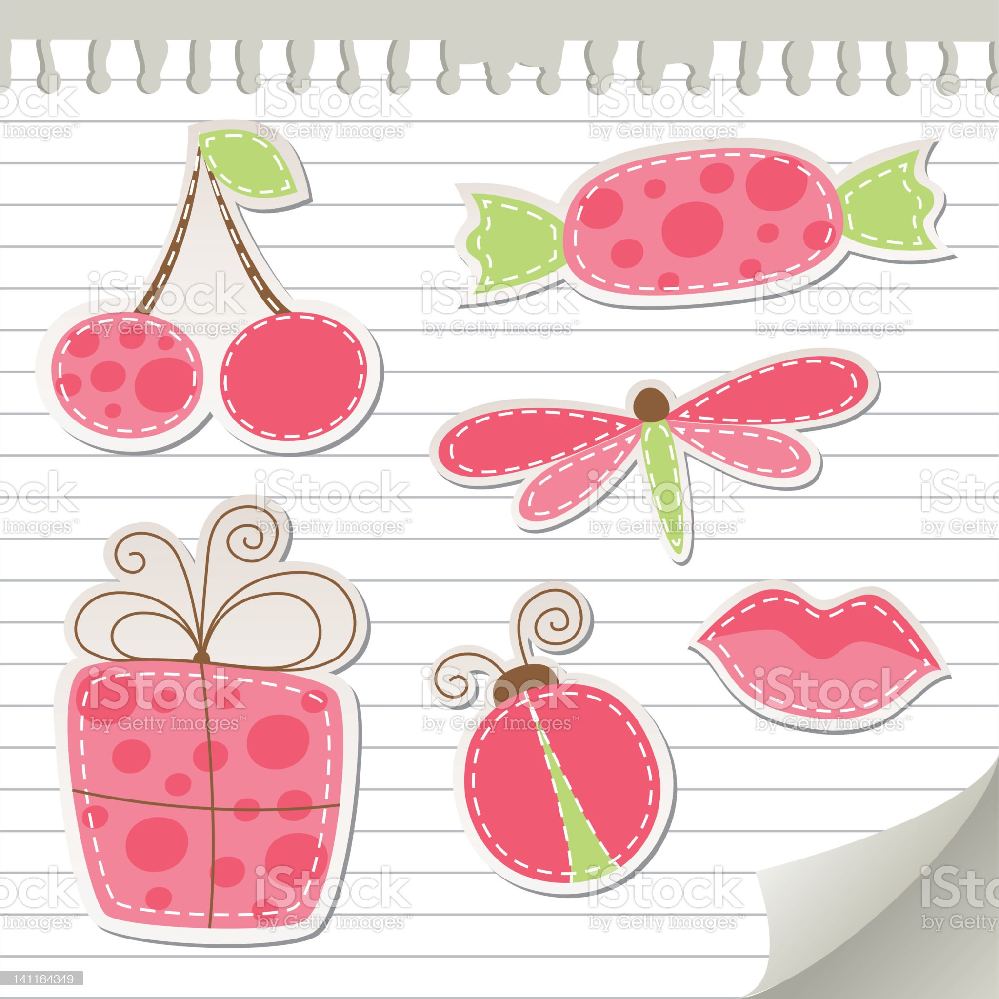 cute pink stickers royalty-free stock vector art