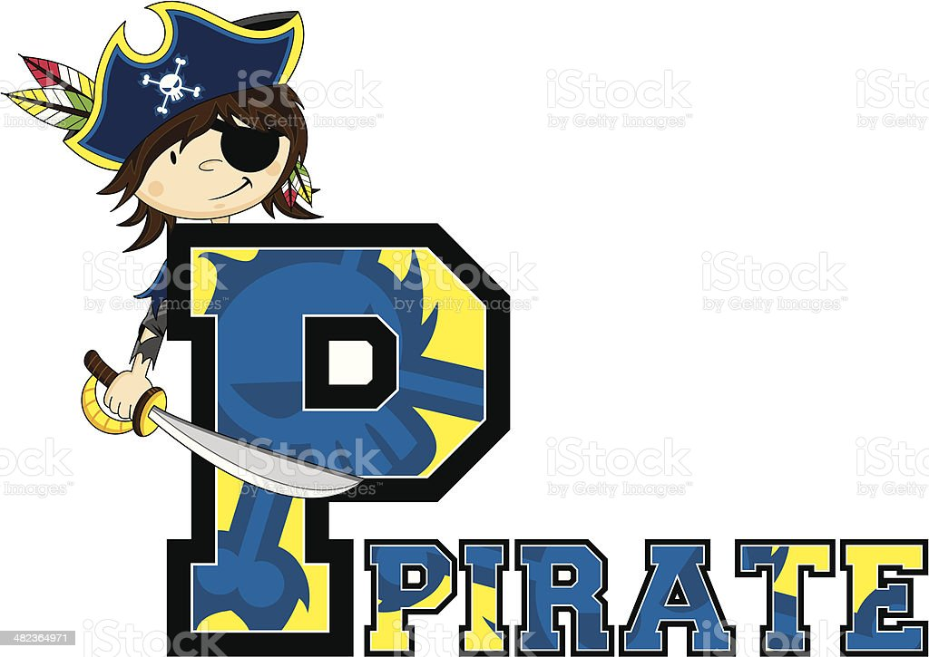 Cute Pirate Captain Letter P royalty-free stock vector art