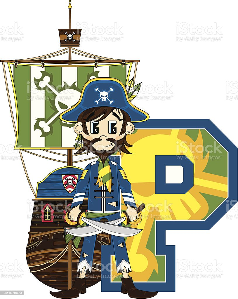 Cute Pirate Captain & Ship Letter P royalty-free stock vector art