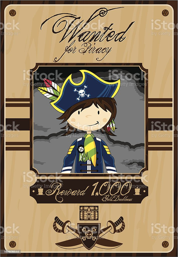 Cute Pirate Captain Wanted Poster royalty-free stock vector art