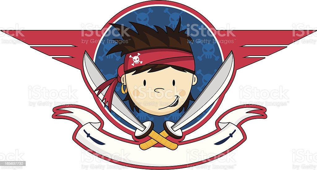 Cute Pirate Crewman Icon vector art illustration
