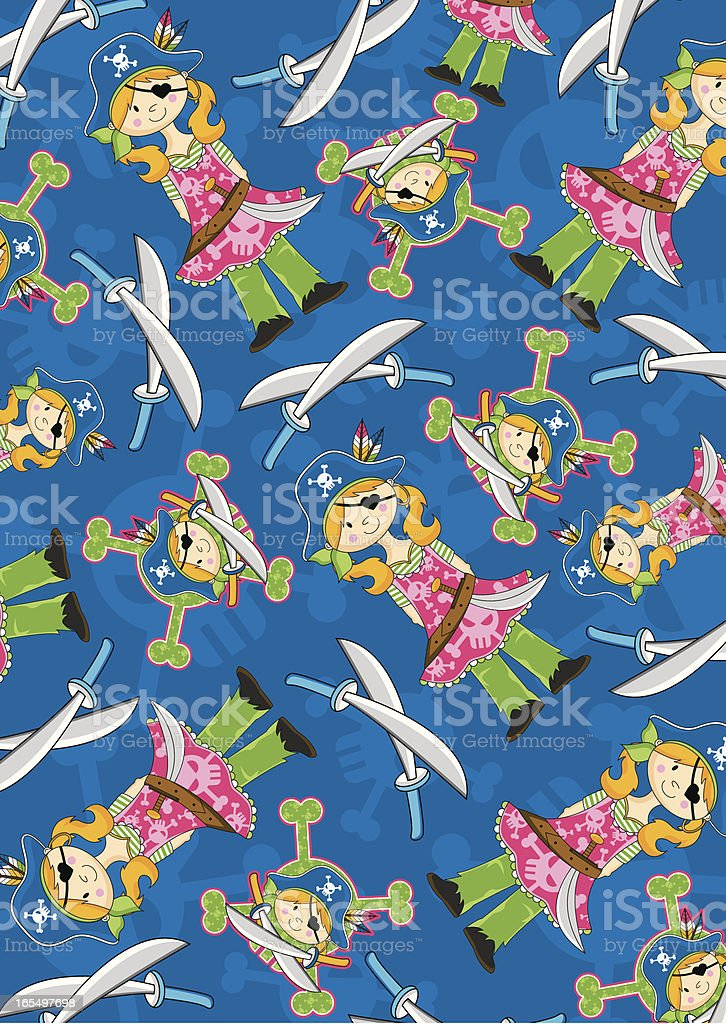 Cute Pirate Girl with Eyepatch Pattern royalty-free stock vector art