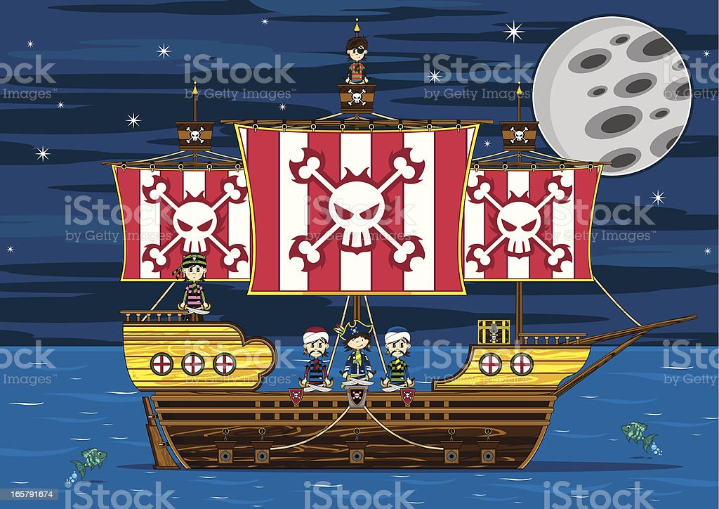 Cute Pirates on Ship royalty-free stock vector art