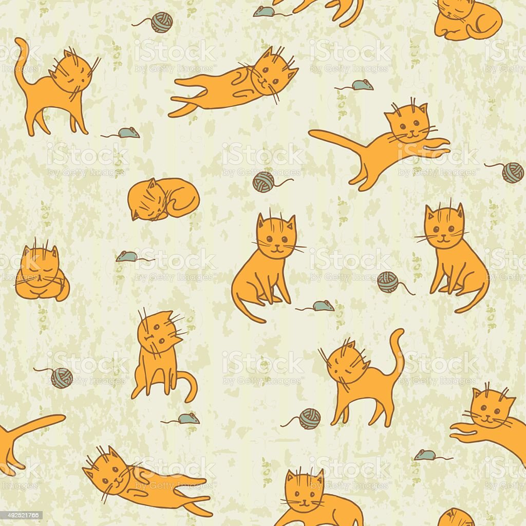 Cute Playng Cats Seamless Pattern. Pets  Background. Vector Illustration vector art illustration