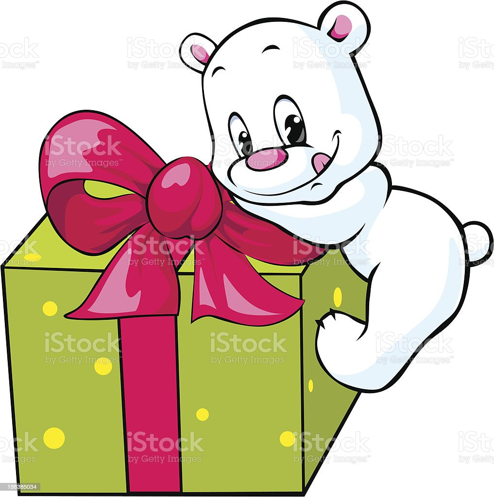 cute polar bear unwrapping gift royalty-free stock vector art