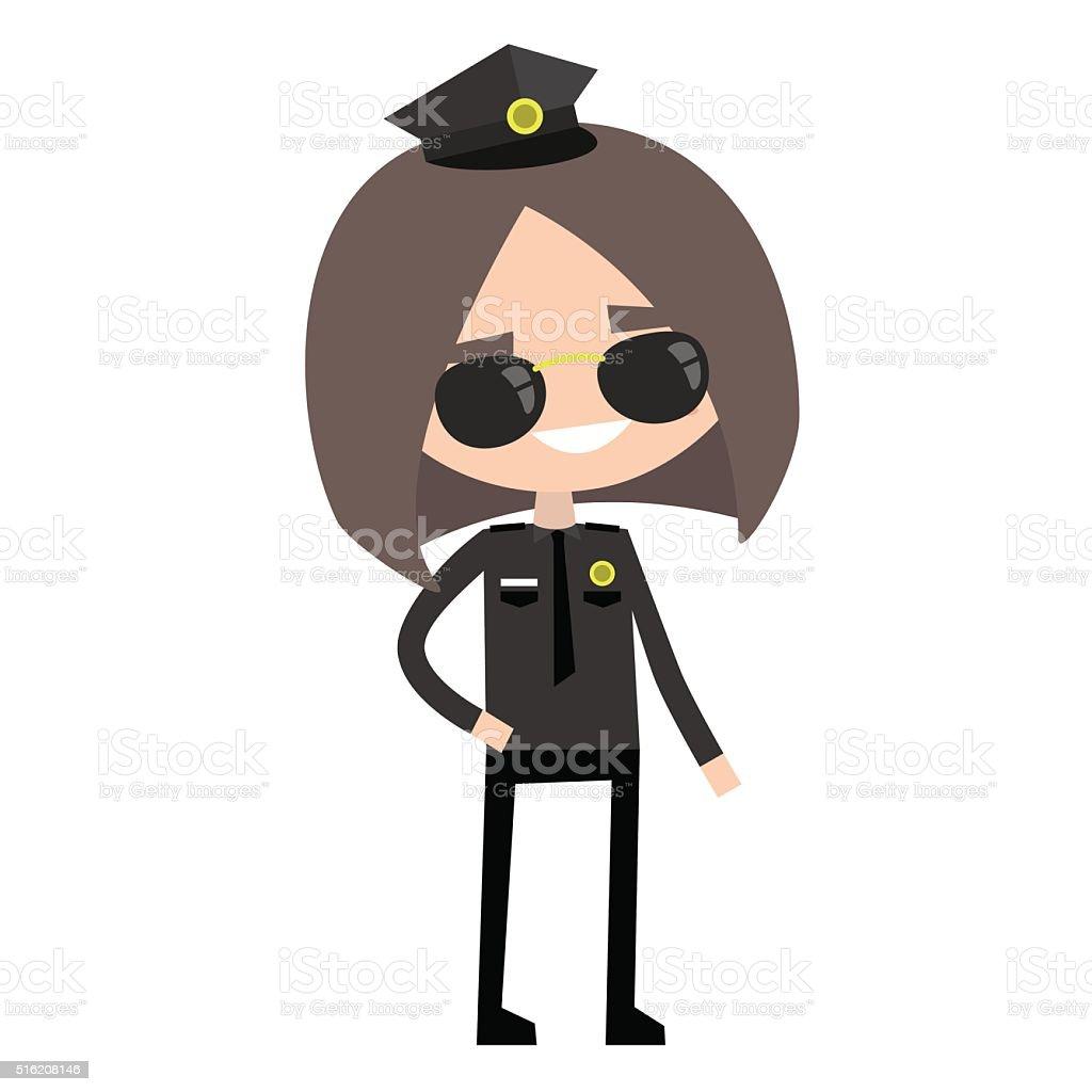 Cute police woman vector art illustration