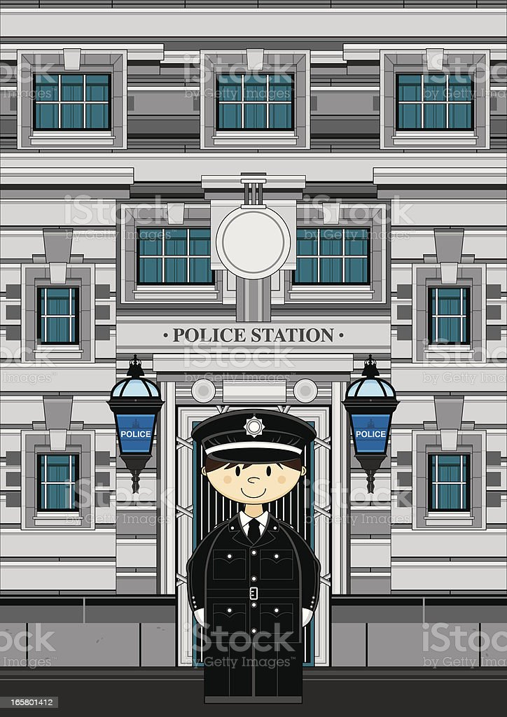 Cute Policeman and Police Station royalty-free stock vector art