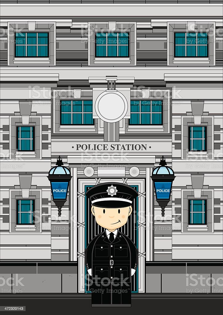 Cute Policeman and Police Station vector art illustration
