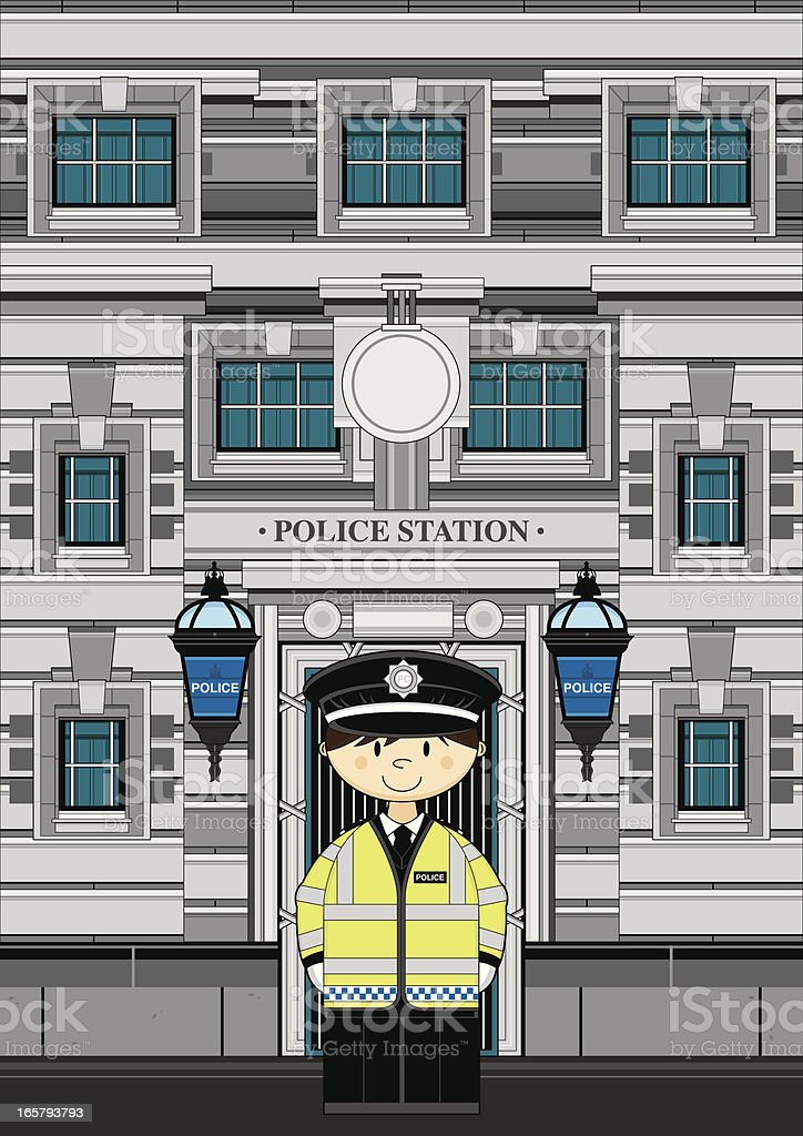 Cute Policeman at Police Station royalty-free stock vector art