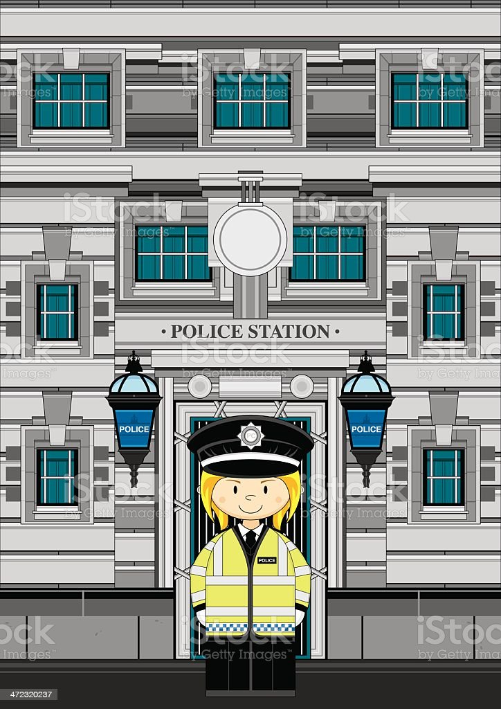 Cute Policewoman at Police Station royalty-free stock vector art