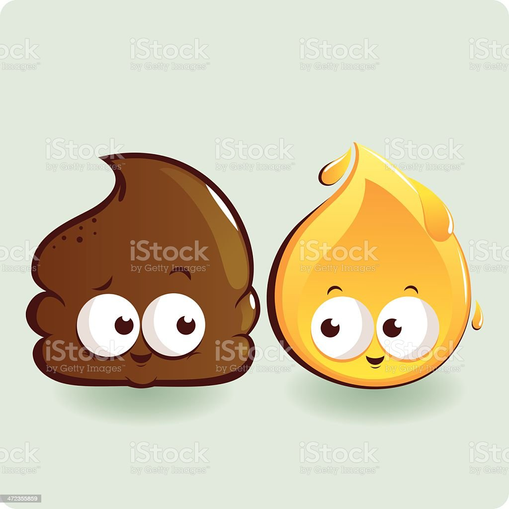 Cute poop and pee characters vector art illustration