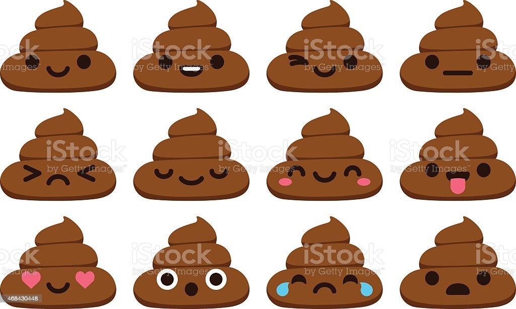 Cute poop emoticons royalty-free stock vector art