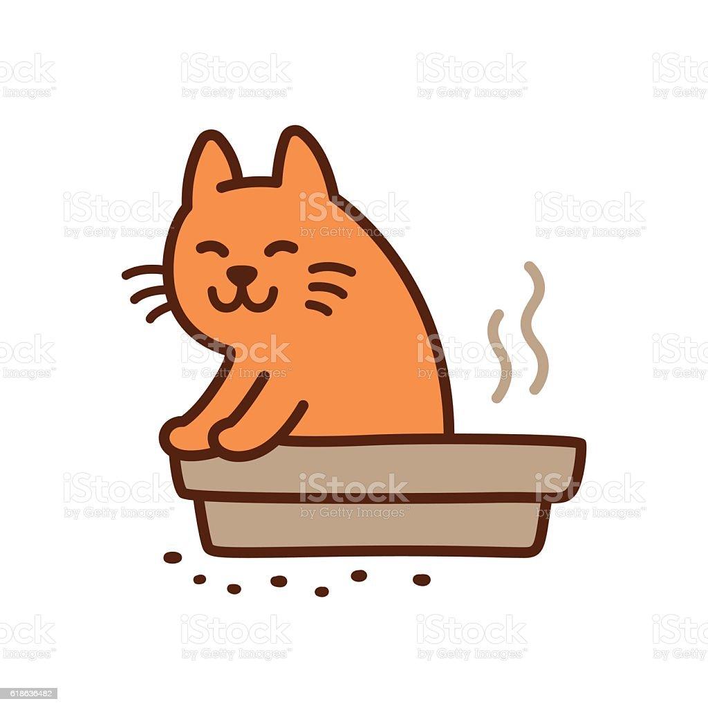 Cute pooping cat vector art illustration