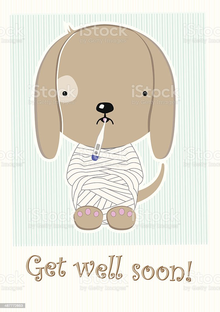 Cute Poor Sick Doggy, Get Well Soon Postcard vector art illustration