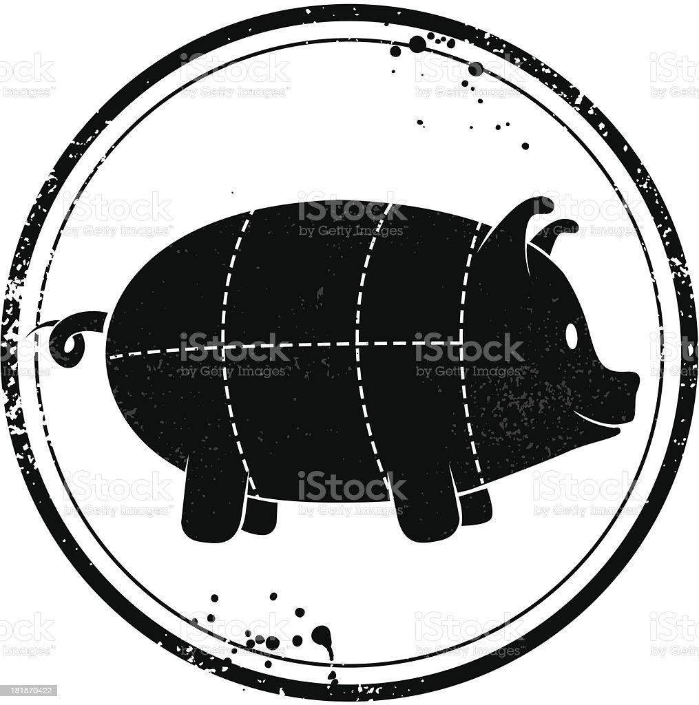 Cute pork stamp royalty-free stock vector art