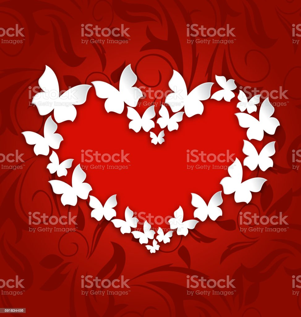 Cute postcard with heart made in paper butterflies for Valentine vector art illustration