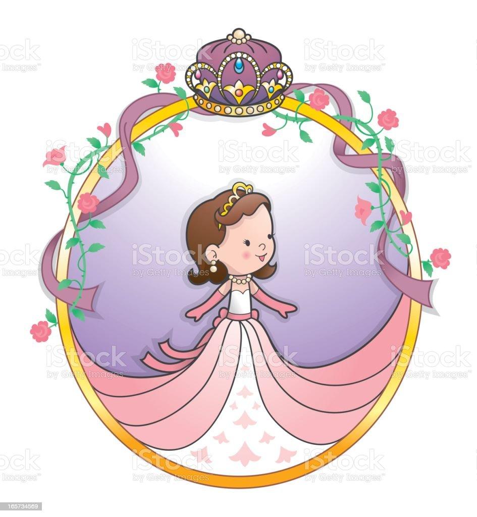 Cute princess crown ribbon frame vector art illustration