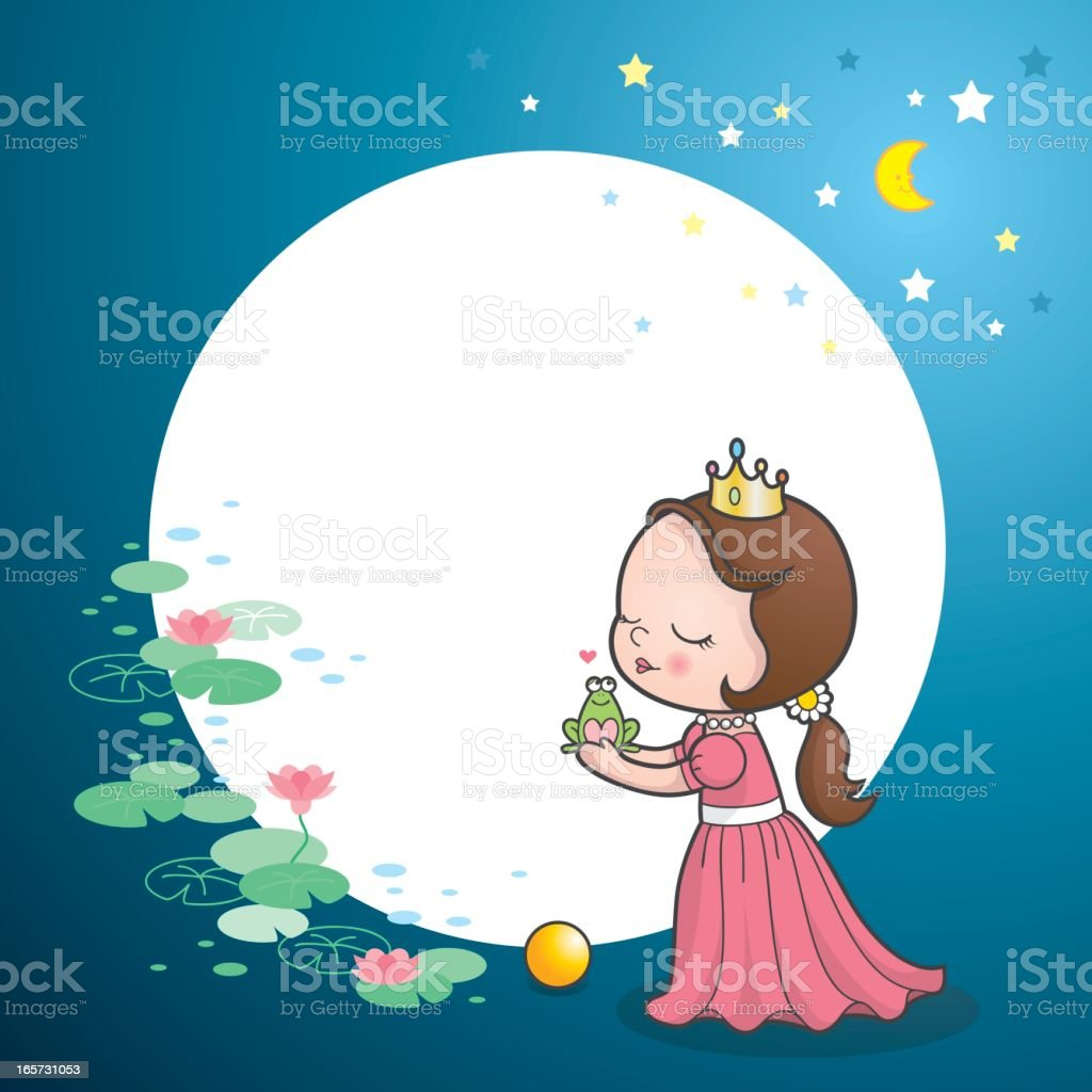 Cute princess kiss frog fairy tale royalty-free stock vector art