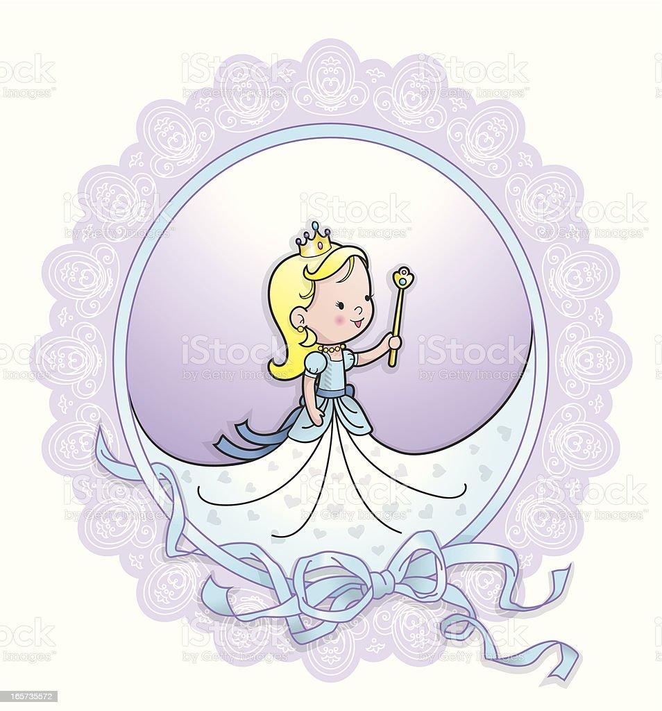 Cute princess lace ribbon frame vector art illustration