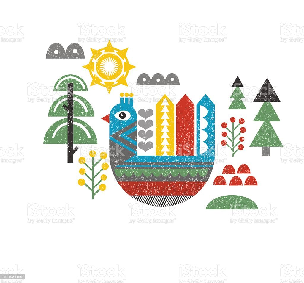 Cute print with bird in the forest. vector art illustration